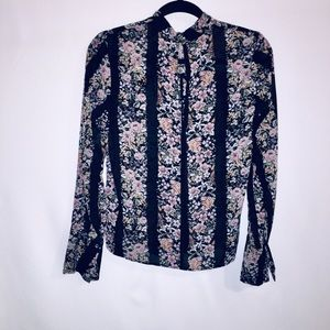 Forever 21 Contemporary Floral Striped Blouse